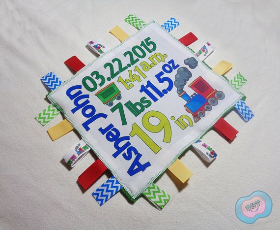 Personalized Birth Announcement Ribbon Blanket Train Blanket