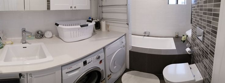 (panorama view) another combined laundry and bathroom, plenty of bench and storage space too :)
