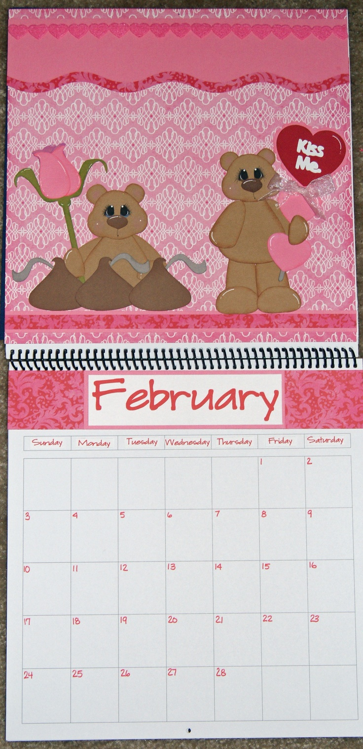 Scrapbook ideas calendar pages - February Calendar Fuzzy Kisses And Choc Wishes