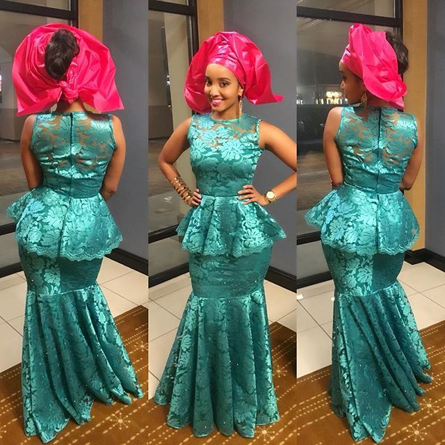 Aso Ebi Styles 2016 Green And Pink Colour Combinations
