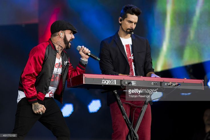 AJ McLean (L) and Kevin Richardson (R) of The Backstreet Boys perform on stage at British Summer Time Festival at Hyde Park on July 6, 2014 in London, United Kingdom.