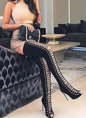 CR Thigh High Open Toe Stiletto Heel Lace Up Full Back Zipper Boots Black Nubuck in Clothing, Shoes & Accessories, Women's Shoes, Boots   eBay