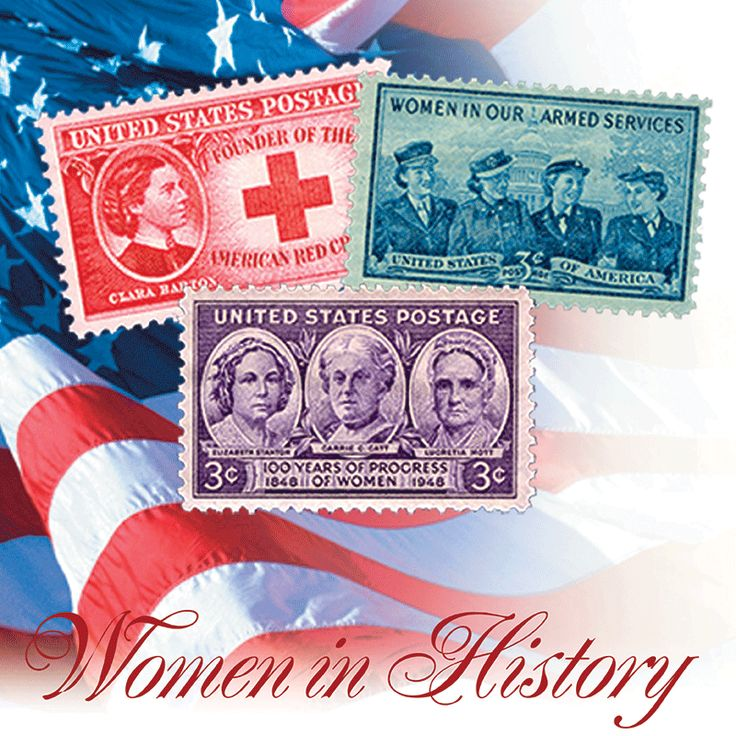 "March is National Women's History Month -  enjoy the ""Women in History"" as your computers wallpaper image. See this and the many other stamp fun wallpapers available from the American Philatelic Society (www.stamps.org)"