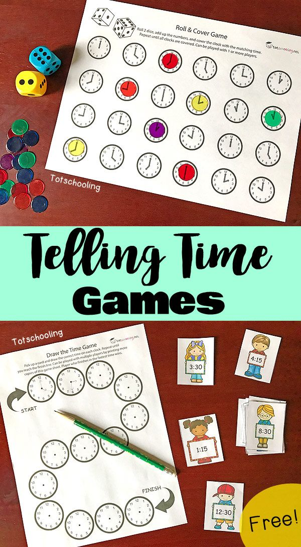 FREE printable games for kids to learn how to tell time and read a clock. Features a roll & cover game and a draw the time game. Also featuring a FREE interactive app from TIMEX to practice time-telling concepts. #timextimemachines #ad