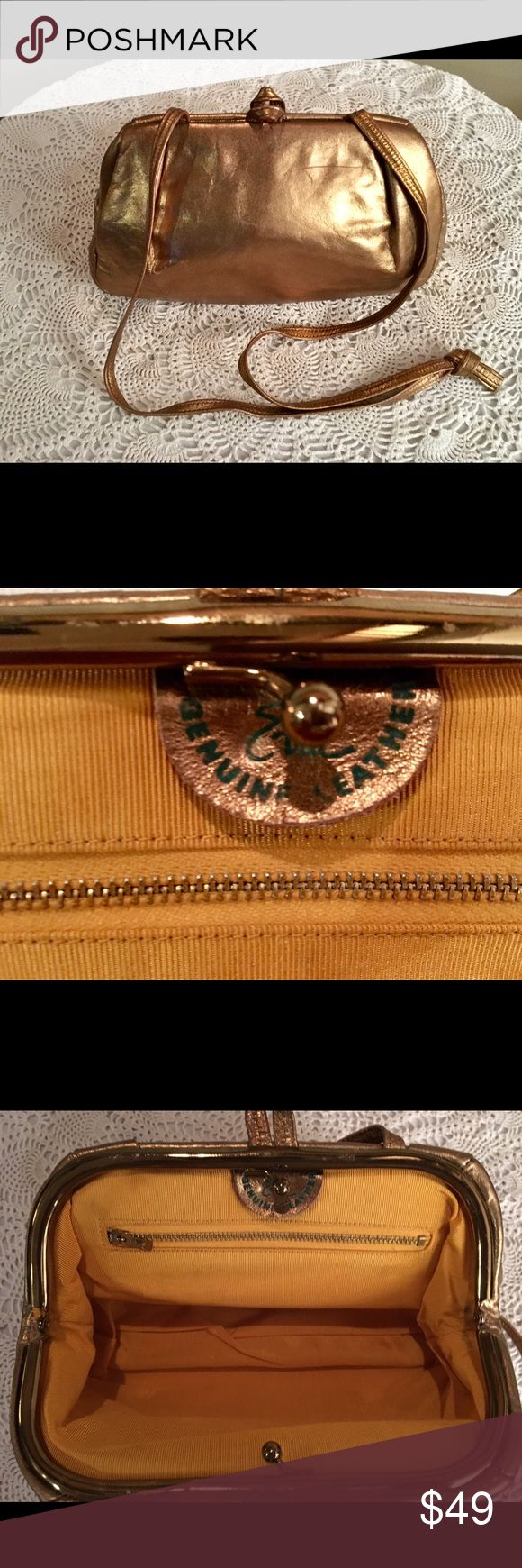 VINTAGE ETRA GOLD GENUINE LEATHER EVENING BAG ABSOLUTELY PERFECT LIKE NEW INSIDE ZIPPER  POCKET IN EXCELLENT CONDITION VINTAGE ETRA Bags Shoulder Bags