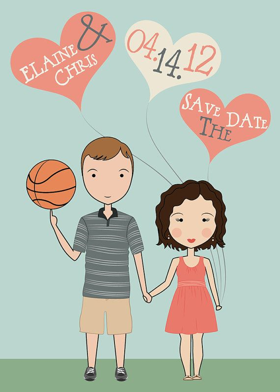 Custom Illustrated Portraits Save the Dates by LunaPaperie