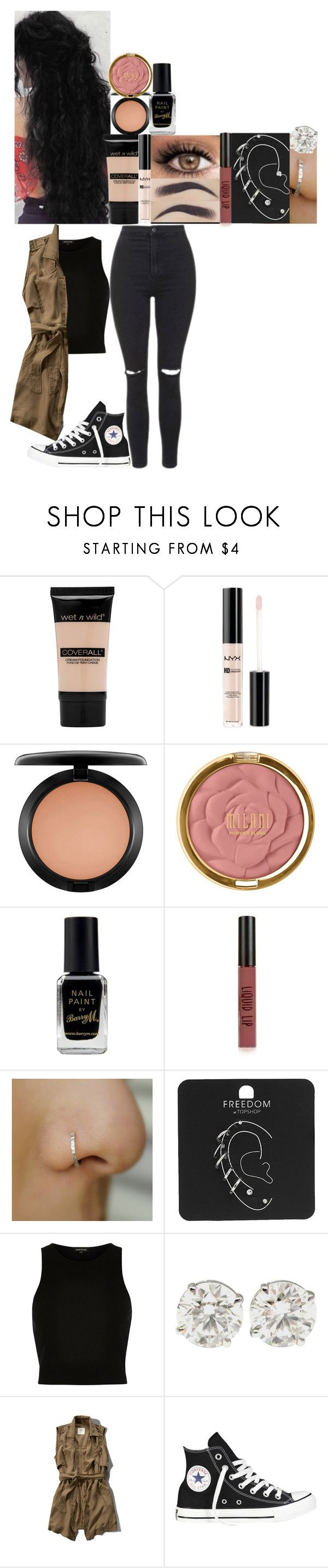 """""""Jurassic world // 2015"""" by fuckmeirwin ❤ liked on Polyvore featuring Wet n Wild, NYX, MAC Cosmetics, Milani, Barry M, Topshop, River Island, Abercrombie & Fitch and Converse"""