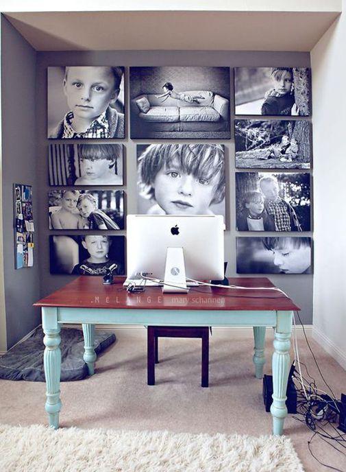 So cool decor.15 Great Home Office Ideas. (idea para el cuarto de tv)