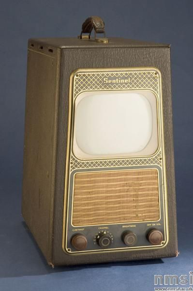 """Sentinel Radio Corp 7"""" 400TV tabletop television receiver, 1948. Portable, Suitcase Sets - designed to complement your matching luggage set. (This is a Motorola 'Suitcase' set. This set uses the same internal parts as the VT-71 but is housed in a luggage-type case)."""