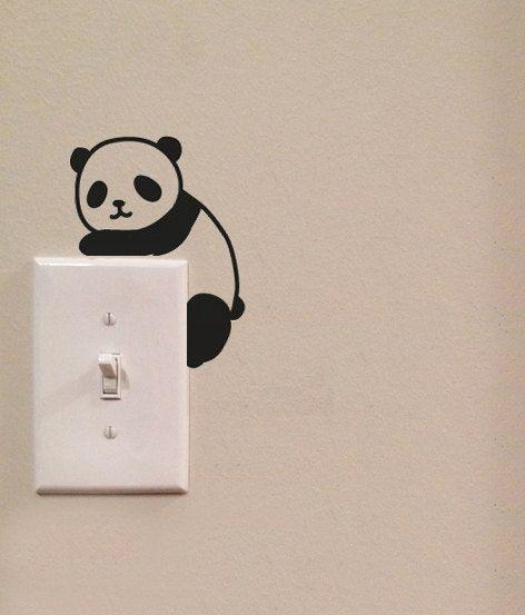 Niedlichen Panda Lichtkunst Switch niedlichen Vinyl Wall Decal Sticker
