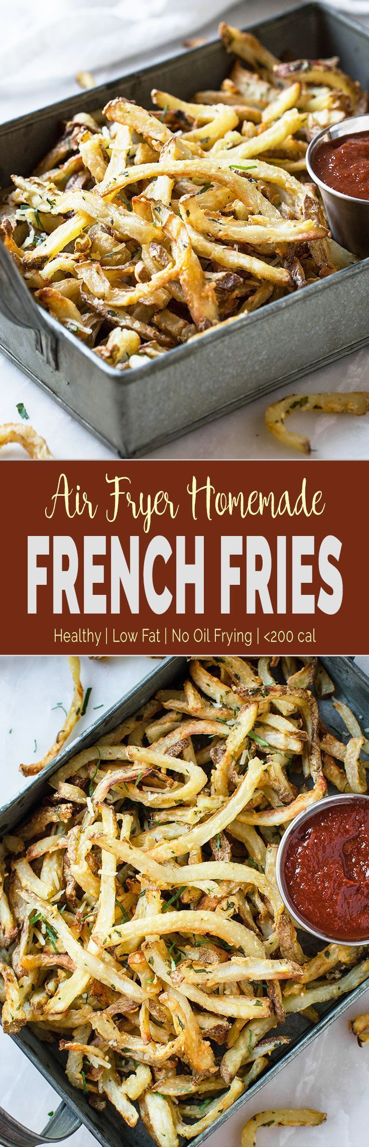 Low Fat Air Fryer French Fries -Healthy homemade French Fries without the need to deep fry in oil. You can make them anytime you crave for french fries. | #airfryer #frenchfries #lowfat#healthyfries  via @watchwhatueat