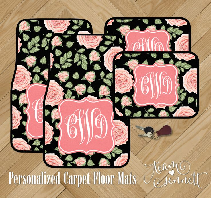 Victorian Rose Monogrammed Car Floor Mats - Black and Pink Floral Pattern Carpet Car Mats - Custom Printed Auto Decor - Car Accessory Gift by TeamSennett on Etsy https://www.etsy.com/listing/514533447/victorian-rose-monogrammed-car-floor