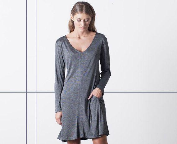 SALE 20%, Loose Fitting Dress, V neck Dress, Grey Dress, Casual Dresses for Women, Day Dress, Light Dress, Womens Clothes, Long Sleeve Dress
