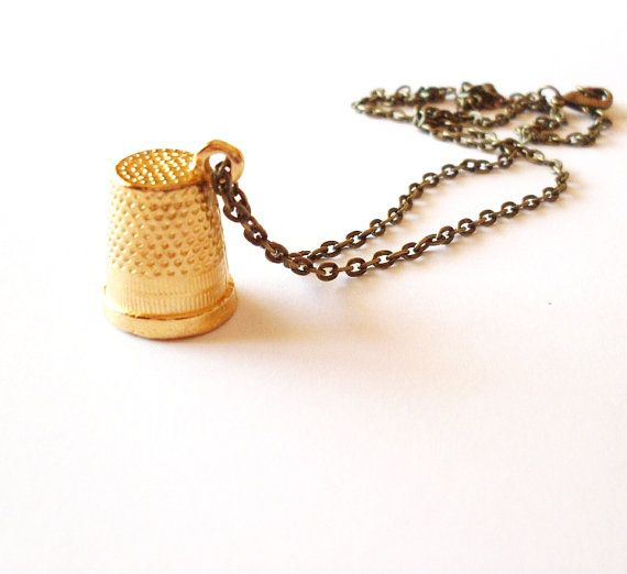 Wendy's Kiss - Gold Thimble Necklace