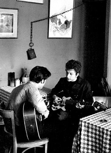 Bob Dylan playing bass with John Sebastian at Café Espresso in Woodstock.