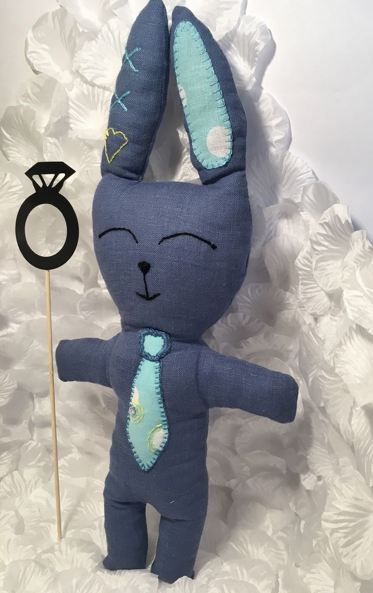 Dark blue bunny Toy with tie