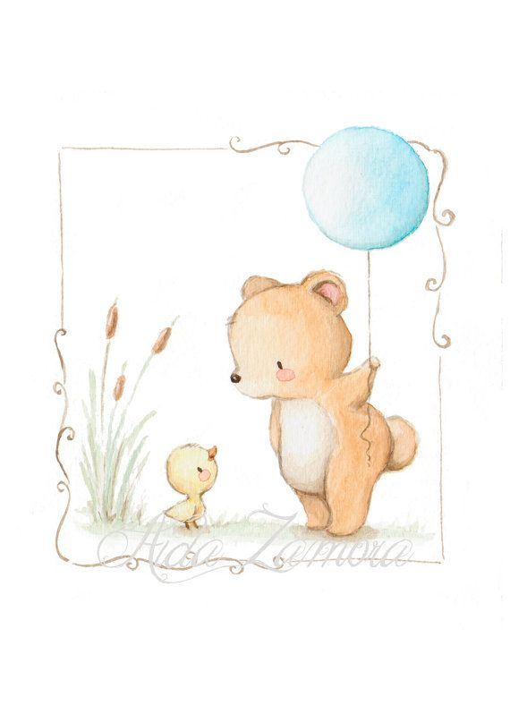 Nursery Art TEDDY BALLOON Art Print Nursery por AidaZamora en Etsy