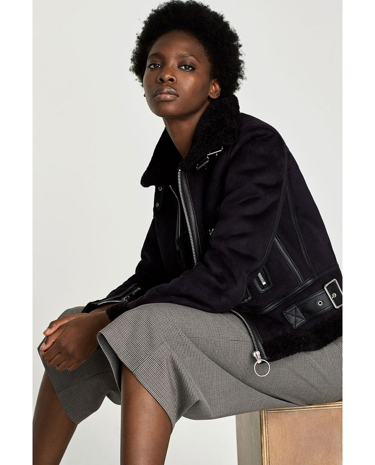SHORT JACKET WITH FAUX SHEARLING