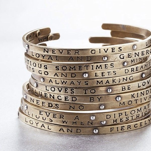 Waxing Poetic Bracelet Planetary Cuff - different phrase for each month