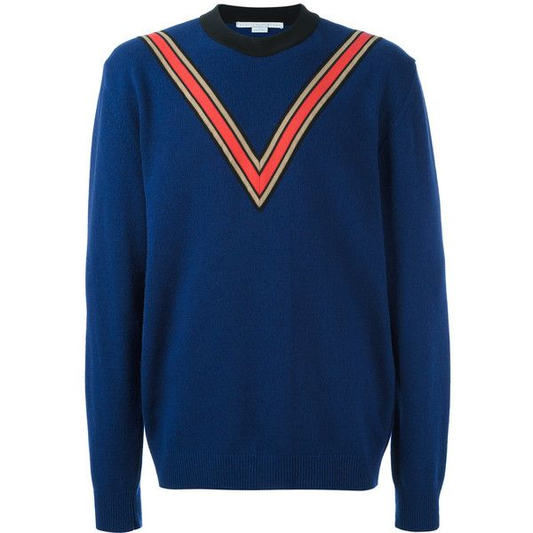 Stella McCartney v-intarsia jumper (28510 TWD) ❤ liked on Polyvore featuring men's fashion, men's clothing, men's sweaters, blue, mens long sleeve v neck sweater, mens blue sweater, mens v neck sweater, mens v neck jumper and mens wool sweaters