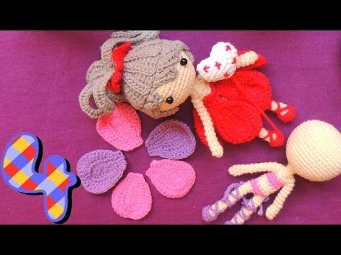 Part 4. Assembling Petals for the Dress/Skirt MUÑECA ARTICULABLE CON VESTIDO TEJIDO A CROCHET - PARTE #4 VESTIDO
