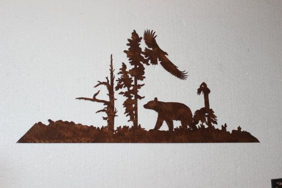 Bear and Eagle Metal Wall Art Country Rustic by sayitallonthewall, $44.99