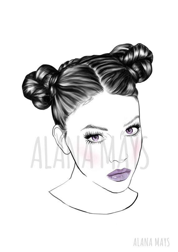 Double Bun girl illustration black and white by AlanaMaysCreations, A2 23.4 x 16.5 inches, female portraiture, salon art, hairdresor art, printable wall art, etsy business, $15 for an A5, fashion illustration