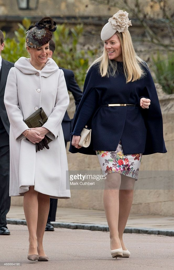 Autumn Phillips and Sophie, Countess of Wessex attend the Easter Service at St George's Chapel at Windsor Castle on April 5, 2015 in Windsor, England.