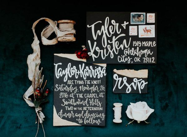 Modern + bold black and white wedding invitation suite | Image by Peyton Rainey Photography and Chelsea Denise Photography