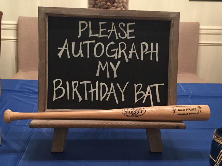 Birthday baseball bat guest sign in