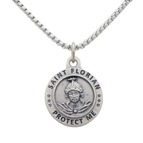 """St Florian Pendant Necklace """"Patron Saint of Firefighters"""""""