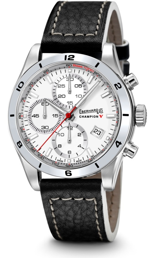 Champion V  Ref 31063.2  Mechanical automatic winding chronograph. 42,80 mm steel case, convex sapphire glass anti-reflective, screw-in crown, caseback fixed by 6 screws,leather strap, steel buckle - 19 mm