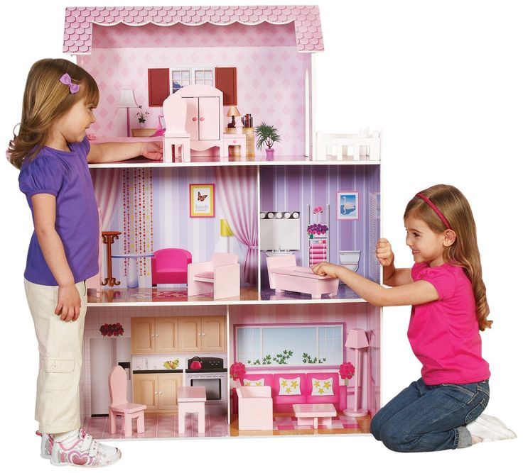 Amazon.com: Teamson Kids Fancy Mansion Wooden Doll House with Furniture: Toys & Games