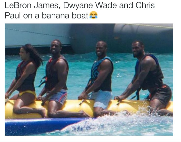 Somebody please help me.  I havent been able to sleep the last four nights.  If somebody can please solve this riddle for me.  .For crying out loud why are 3 grown men sitting behind one another riding a giant inflatable banana in tropical blue waters way out in the caribbean somewhere?  And why oh why do these three grown men happen to be three of the best basketball players in the world?  Alright alright I get it.  When youre the best you make the rules.  But actually theres more going on…