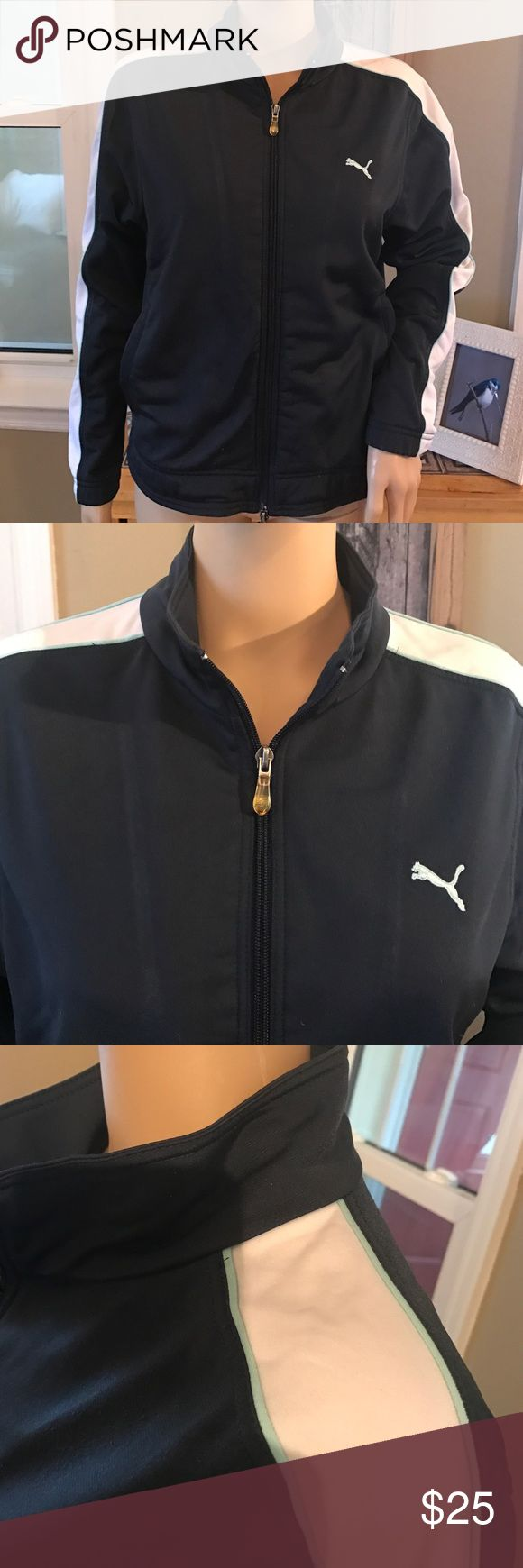 Puma zip up jacket Navy jacket with powder blue and white as accent colors.  Size says medium, it fits like a small-medium.  Love this! Puma Tops Sweatshirts & Hoodies