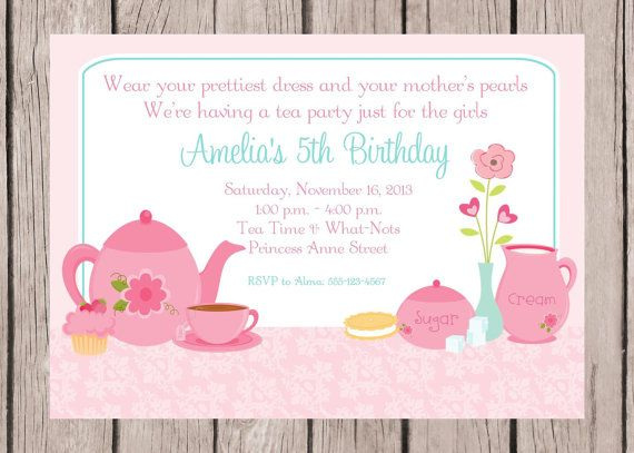 printable  personalized tea party invitations  you print