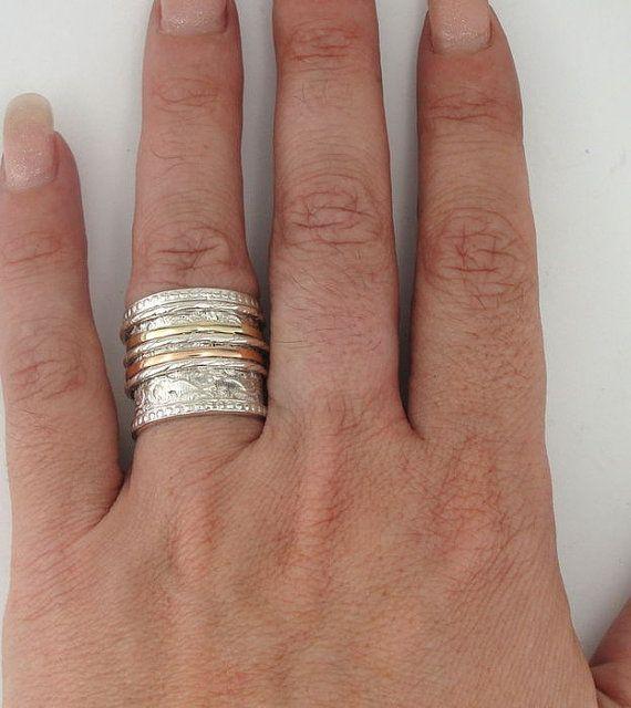 Sterling argent intégré 9K rose et jaune taille de bande par jewela