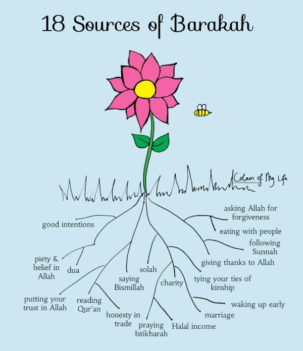 18 sources of Barakah  http://www.productivemuslim.com/18-sources-of-barakah/