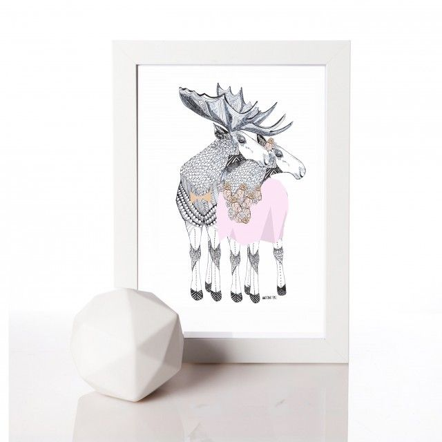 Lovers, illustration by Mooncake #nordicdesigncollective #mooncake #lovers #illustration #elk #animal #nordic #couple #partners
