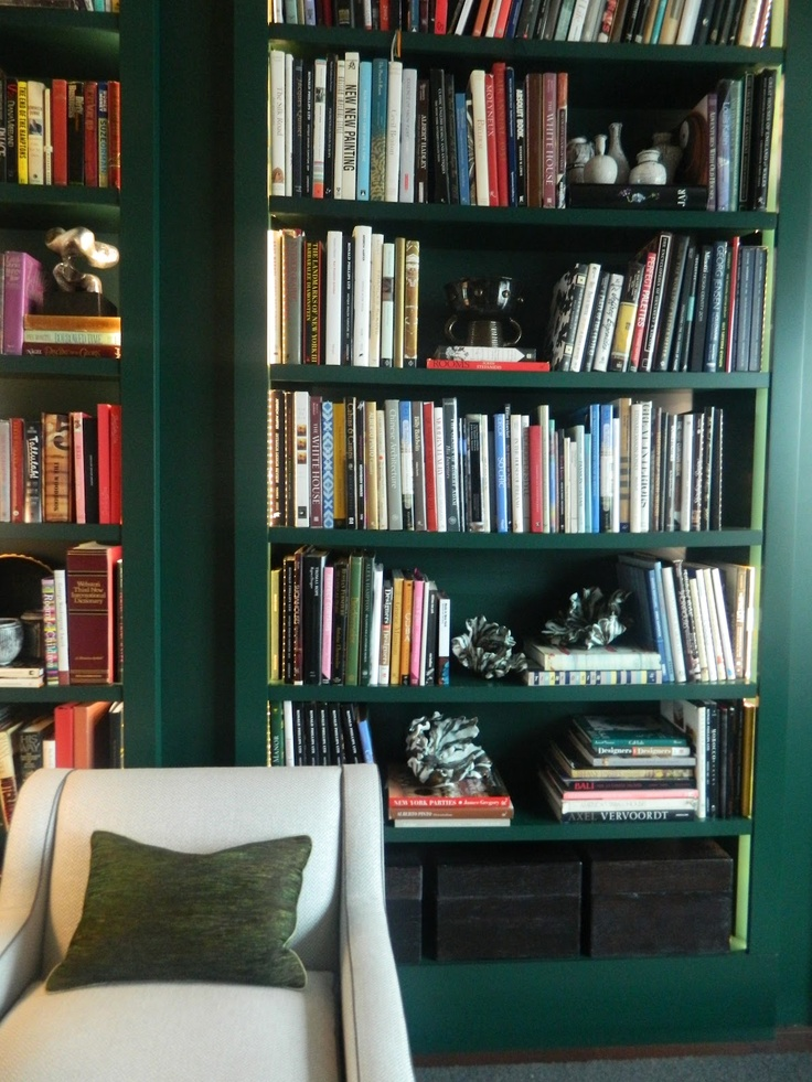 Dark Green Home Decor Library