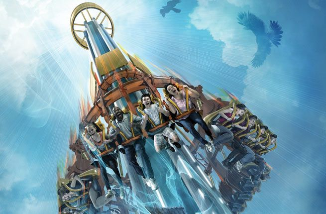 10 Best US Theme Parks for 2014  Busch Gardens Tampa Tampa, FL  Prepare to leave your sunglasses on the ground and your stomach in the sky as the new Falcon's Fury plummets into Busch Gardens Tampa in May. Falcon's Fury features North America's tallest free-standing drop (335 feet) and will be the first-ever drop tower to send riders down with seats that tilt forward.