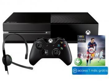 Console Xbox One 500GB 1 Controle - Microsoft - Download Fifa 16 + 1 Mês de EA Access