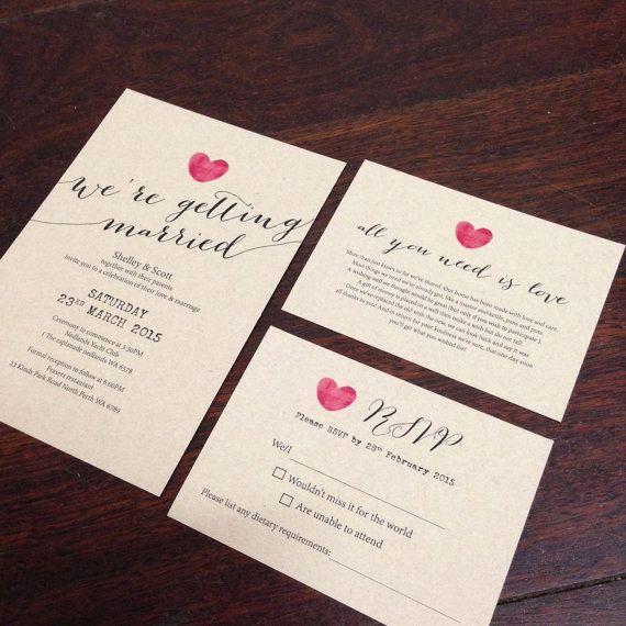 custom printable wedding invitation set calligraphy heart design