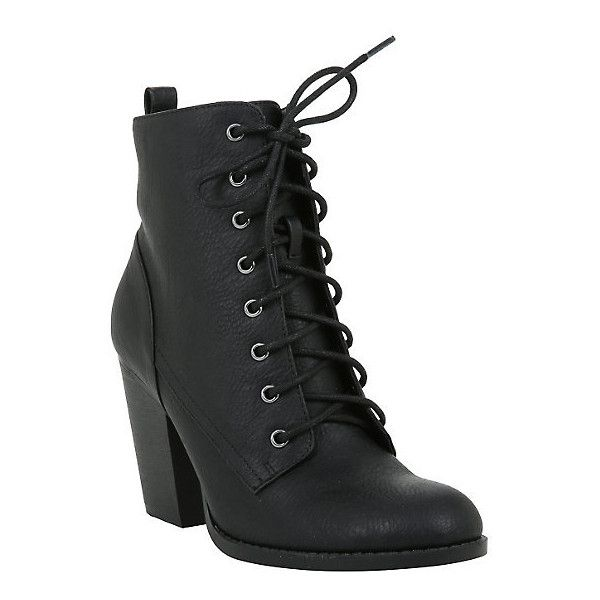 Black Lace-Up Heel Bootie Hot Topic ($60) ❤ liked on Polyvore featuring shoes, boots and ankle booties