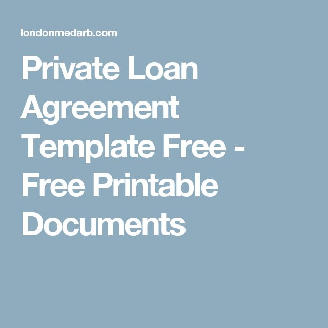 Private Loan Agreement Template Free - Free Printable Documents - private loan agreement template