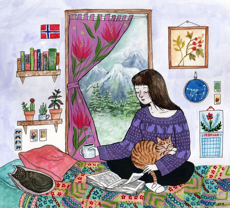 """What I'd Rather Be Doing"" by Kjersti Faret (just replace the cats with my dogs and yeah, this is me)"