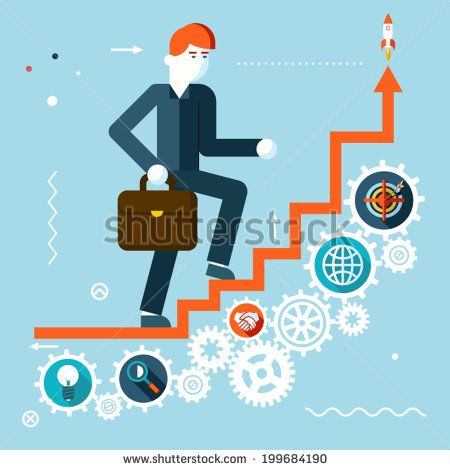 Businessman Goes Success Infographic Stairs Symbol Gears icons on Stylish Background Modern Flat Design Vector Illustration
