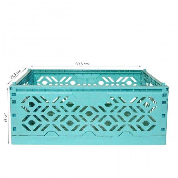 Cagette En Plastique Turquoise Empilable Et Pliable Cagette Rangement Jeux Plastique