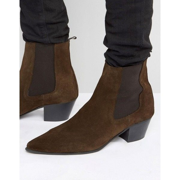 ASOS Chelsea Boots In Brown Suede With Stacked Heel (€78) ❤ liked on Polyvore featuring men's fashion, men's shoes, men's boots, brown, mens suede chelsea boots, asos mens shoes, mens brown shoes, mens pointed toe boots and mens brown boots