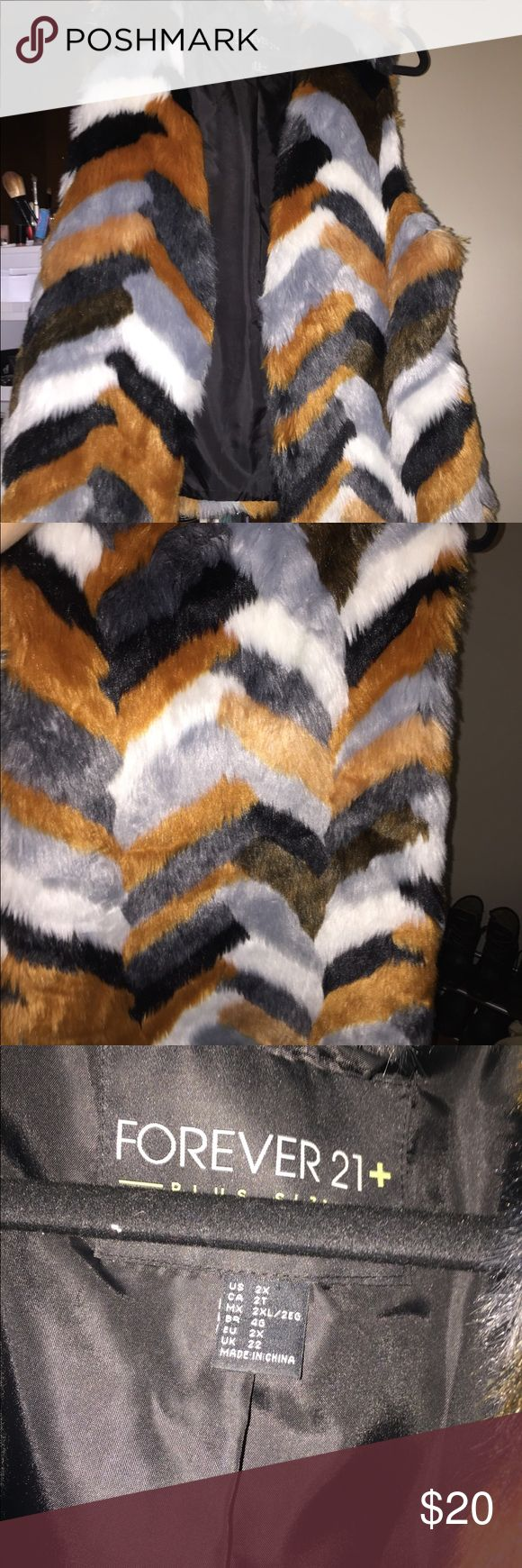 Multicolor Fur Vest Worn once Forever 21 Jackets & Coats Vests
